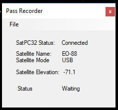 Pass Recorder Screenshot with satellite pass information being displayed